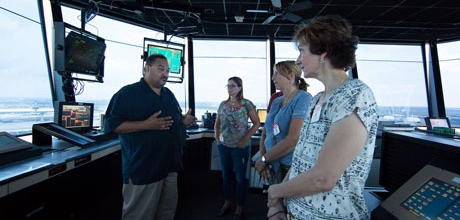 Teachers in Industry at the airport control tower
